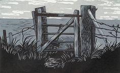 Fenland Gate ~ Linocut ~ Rebecca Hearle