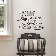 Wall Pops Family Where Life Begins Wall Quote, Black Wall Vinyl   Overstock.com Shopping - The Best Deals on Quotes & Sayings