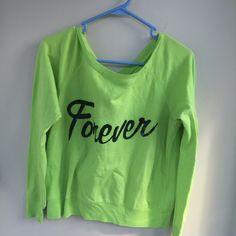 For Sale: neon green off shoulder shirt for $9