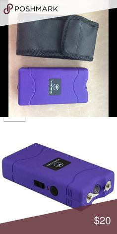 """New! Purple Taser Taser w/ Free Case! Must be 18 to buy.  Extremely Powerful 4 Prongs and 2 Spikes For Double Shocking and Penetrating Power Mini Size, Conceals Easily - Only 4-1/4"""" tall, 2 1/8"""" wide and 1"""" thick - Slips easily into a pocket or purse.  Built in LED Flashlight & Built in Charger Rechargeable Battery  Safety switch prevents accidental discharges Lifetime Warranty Accessories Watches"""