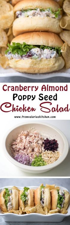 A tangy, lightly sweet poppy seed dressing graces this pretty Cranberry Almond Poppy Seed Chicken Salad. Layer it on rolls for a delicious, light mea / cabin food / chicken / sandwich / lunch / picnic / salad Turkey Recipes, Lunch Recipes, Summer Recipes, Salad Recipes, Chicken Recipes, Dinner Recipes, Cooking Recipes, Healthy Recipes, Cooking Stuff