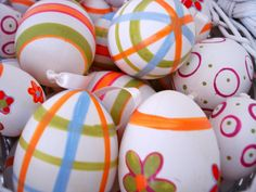 2012 Easter Decorations.  Hollowed Out Handpainted eggs.  Very easy and fun to do with the kids!