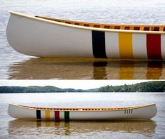 Langford canoe with iconic Hudson's Bay Company stripes. Via the Canadian Design Resource. Want this in my future lake house