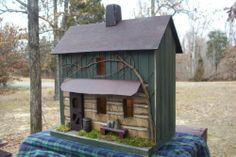 Vintage Folk Art Primitive Farmhouse Log Cabin Birdhouse Cabin Made in USA