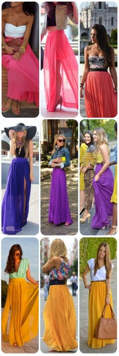 Colorful Maxi Skirts, I need one for my summer wardrobe Looks Street Style, Looks Style, Style Me, Look Fashion, Fashion Beauty, Womens Fashion, Fashion Trends, Fashion Clothes, Maxi Skirts
