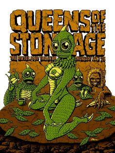 Queens of the Stone Age in Portland, OR. A four color screen print on 100 lb acid free paper stock measuring Illustration Photo, Illustrations, Stone Age Art, Rock Band Posters, Concert Posters, Music Posters, Stoner Rock, Music Flyer, Rock Queen
