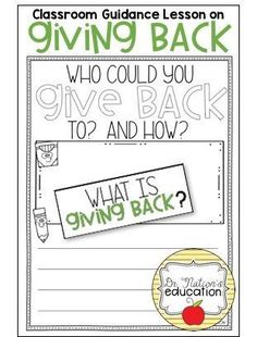 A classroom guidance lesson on the character education trait of giving back. Use in the regular classroom or as a part of the school counseling program for through graders. School Social Work, Guidance Lessons, Character Education, A Classroom, School Counselor, Giving Back, Counseling, Activities For Kids, Preschool