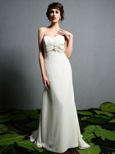 Sheath/Column Spaghetti Straps Chiffon Sweep Train Tiered Wedding Dresses