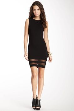 Ponte Mesh Bottom Inset Dress by Maison Blanche on @HauteLook