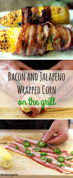 Tutorial: Absolutely incredible grilled corn wrapped in bacon, jalapeno and spices! So easy and the best flavor! Bacon Recipes, Grilling Recipes, Appetizer Recipes, Dinner Recipes, Cooking Recipes, Healthy Recipes, Appetizers, Vegetarian Grilling, Grilling Tips