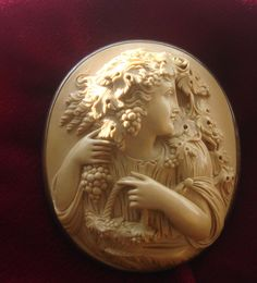 HUGE Rare MUSEUM quality Antique Victorian Hand carved Lava Cameo pendant brooch pin of Bacchante Maiden