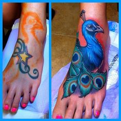 peacock tattoo | Peacock Tattoo Foot Picture