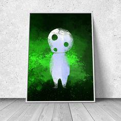 Forest Spirit, Mononoke Hime inspired, watercolor illustration, giclee art print, anime print, wall decor