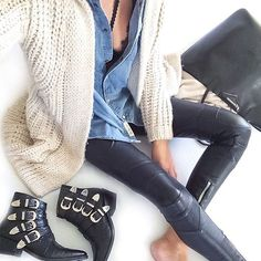 @mademoiselle__k #ootd #hm #hmdeni...Instagram photo | Websta (Webstagram) Mademoiselle K, Winter Looks, Denim Shirt, Going Out, Winter Outfits, Leather Pants, Black Jeans, Zara, Skinny Jeans