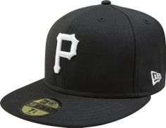 MLB Pittsburgh Pirates Black with White 59FIFTY Fitted Cap by New Era. $16.99. Features a 59FIFTY fitted cap in fashion color. Officially licensed by Major League Baseball. Embroidered Team logo in raised embroidery at front. Made of 100 percent wool. 59FIFTY is the official on-field cap of Major League Baseball and is worn by every Major League Baseball player. With this fashion version of the 59FIFTY you can show your team pride with style.