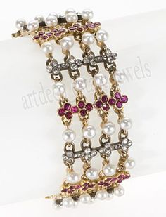 7.60cts ROSE CUT DIAMOND PEARL & RUBY .925 STERLING SILVER BANGLE BRACELET #artdeco_estate_jewels