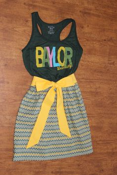 Baylor University Game Day Dress Green Gold Chevron by CheerItUp, $55.00