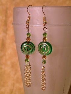 Czech Glass & Swarovski Beads Earrings by OneOfAKindDesignsByD on Etsy