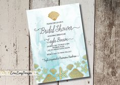 Beach Themed Bridal Shower Invitation, Ocean Themed Invitation, Under the Sea Invitation, Watercolor Bridal Shower Invite, Starsish Invite