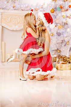 Photo about Mother and daughter dressed as Santa celebrate Christmas. Woman and girl celebrate new year. Image of mother, cute, home - 43442467 Mother Daughter Pictures, Mother Images, Mother Daughter Outfits, Family Christmas Pictures, Christmas Mom, Holiday Pictures, Family Christmas Outfits, Cool Baby, Mother Daughter Photography