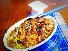 Oatflakes with apple-carrot muse and sprinkled with pumpkin seeds and figs. And SOY YOGURT!