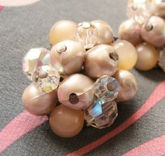 Beaded Crystal and White Earrings Clip On Vintage 1960s