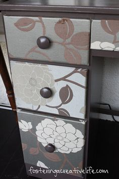 modge podge drawers. Obviously not with flowers but something for a little boys room