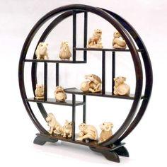 Mammoth Ivory Netsuke -  12 zodiac animals set - Round Stand
