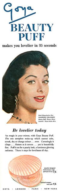 Goya Beauty Puff makes you lovelier in 35 seconds! #vintage #1950s #beauty #cosmetics #ads