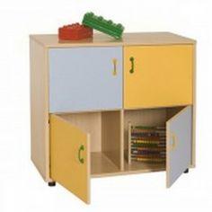 Mueble escolar bajo armario 4 casillas y 4 puertas