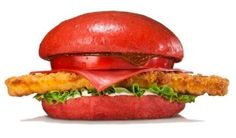 Bright-Red Samurai Burgers on the Menu for Burger King / This is a spicy bite of a colorful burger. Burger King Japan / . . .  Japan, the land of weird fast food creations like fried-chicken computer keyboards and black burgers complete with black cheese. / we have black burgers when we light up the grill.