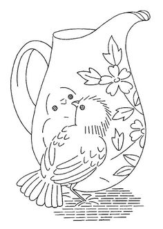 Embroidery pattern; How sweet, the little bird is maybe seeing his reflection! ;) Mo   colour it, stitch it, paint it, etc.