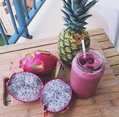 Dragon fruit & pineapple.