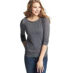 Sheer Stripe Button Shoulder Sweater | Loft