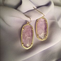 Kendra Scott Elle Amethyst Earrings I had these listed and sold them. I was mistaken and had them listed as Danielle but the woman who purchased them said they were the Elle. So she returned them and I'm re posting them by the right name. Lol.  Kendra Scott Jewelry Earrings
