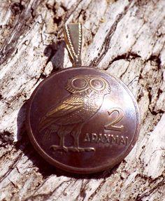 Greece Athenian Owl 2 Drachmai Domed Coin Pendant Necklace Jewelry Greek
