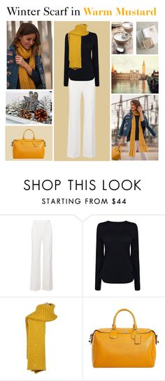 """Winter Scarf in Warm Mustard"" by mstrendy01 ❤ liked on Polyvore featuring Roland Mouret, Helmut Lang, MELLOW YELLOW, Coach, tenoverten and scarf"