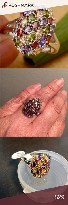 .925 Gemstone Cocktail 🍹 Ring 💍 This gorgeous cocktail ring just shines. The real gemstones are amethyst, garnet, sapphire and citrine. Jewelry Rings
