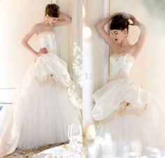 Gold Lace Puffy Organza wedding dress.