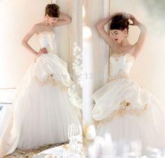 Gold Lace Puffy Organza wedding dress.