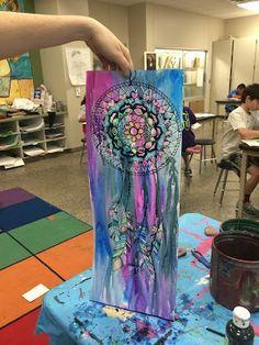 Dream Catchers: Crayon, wet on wet watercolor technique. Gorgeous!