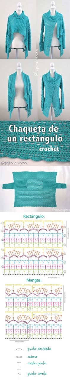 "Chaqueta fantasía turquesa tejida de un rectángulo a crochet en 3 tallas: Small, medium y large! Paso a paso en video tutorial! :) [ ""Everything"