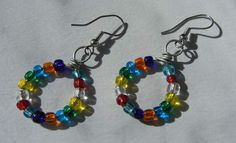 Bright Rainbow Multi-coloured Glass Bead Hoop Earrings on Silver Tone Wire on Etsy, $10.00