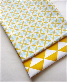 Lot de 2 coupons fat quarter, tissu coton imprimé triangles tendance vintage scandinave : Tissus Habillement, Déco par la-mercerie-d-elyzza