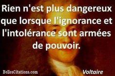 """""""Translation: Nothing is more dangerous than when ignorance and intolerance would be supported by power. Image Citation, Quote Citation, Ignorance, Philosophy Quotes, French Quotes, Quotes By Famous People, Quote Posters, Peace And Love, Quotations"""