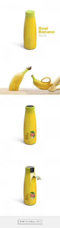Real Banana Milk Concept packaging design by Dongwook Yoon - http://www.packagingoftheworld.com/2016/11/real-banana-milk-concept.html