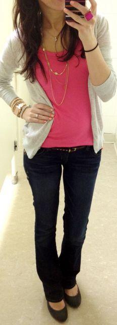 Gray Cardigan + Pink Tank + Black Skinny Jeans + Black Flats