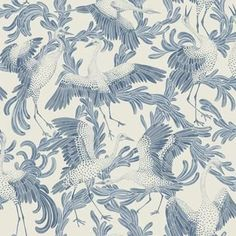 Dancing Crane Wallpaper from the Eco Simplicity Collection for Borastapeter, featuring dancing cranes shown in air force blue on a lightly crosshatched ground in dirty beige. Buy online today at F&P Interiors. Chinoiserie Wallpaper, Fabric Wallpaper, Wall Wallpaper, Blue Grey Wallpaper, Painted Wallpaper, Crane Bird, Blue Wallpapers, Designer Wallpaper, Backgrounds