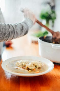 Homemade Einkorn Chicken and Dumpling Soup - Live Simply Chicken Dumpling Soup, Homemade Chicken Soup, Dumplings For Soup, Simple Meals, Quick Meals, Easy Healthy Recipes, Easy Dinner Recipes, Cooking Whole Chicken, Rotisserie Chicken