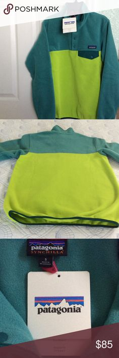 New Patagonia Synchilla Fleece Pullover Green  S Brand new with tags, never worn . Patagonia Synchilla  Snap T, pullover make u feel warm. Patagonia Sweaters Crew & Scoop Necks